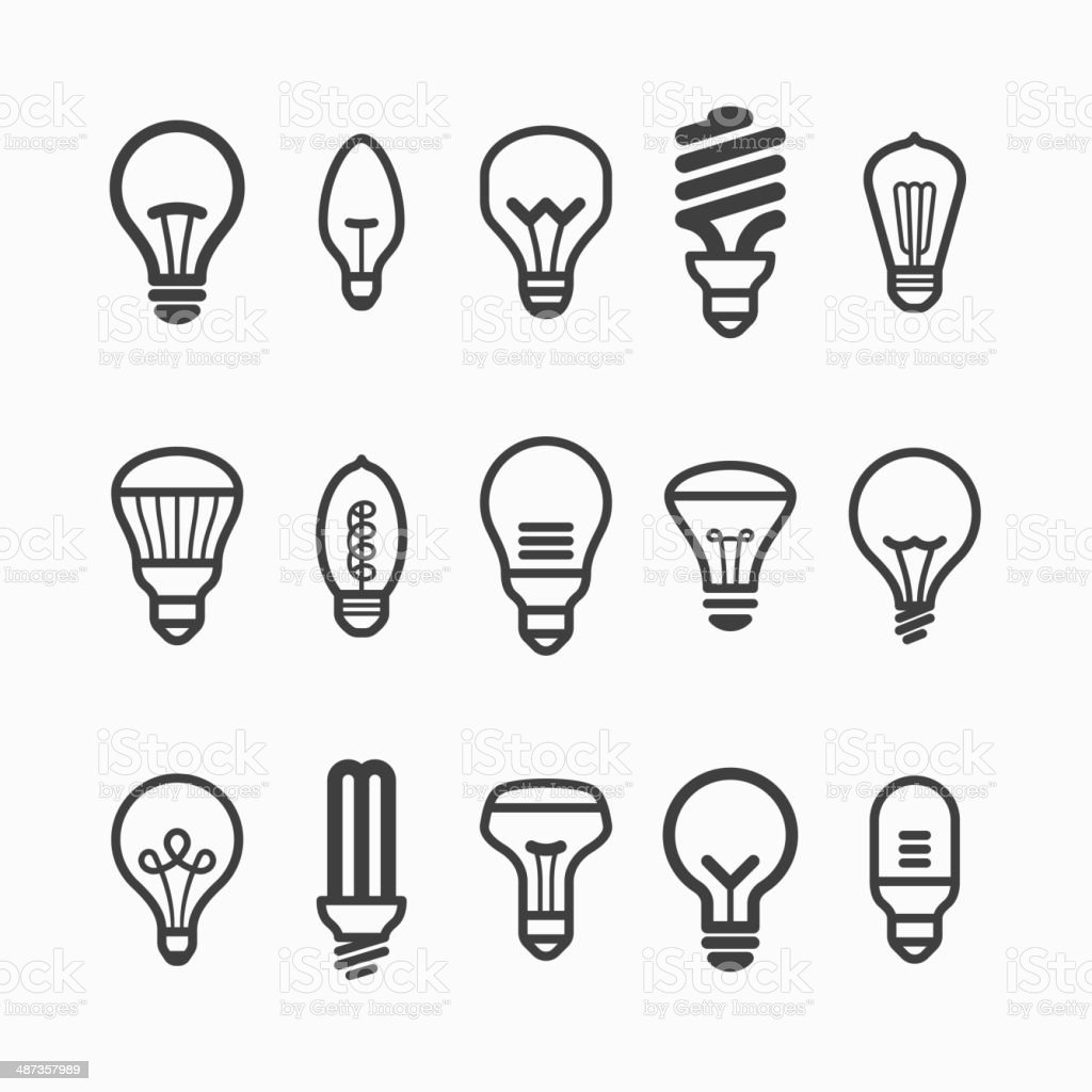 Light bulb icons vector art illustration