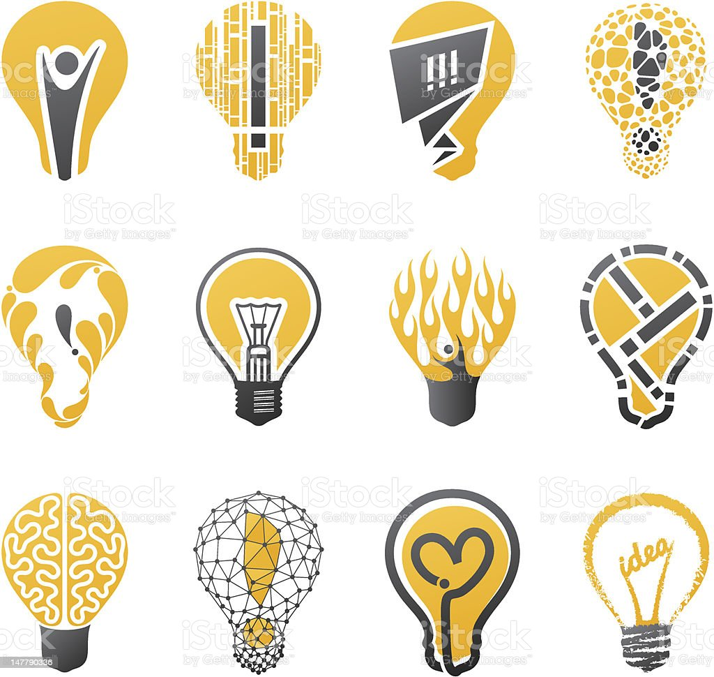 Light bulb idea. Collection of design elements. vector art illustration
