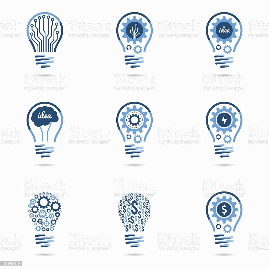 Light bulb idea icons set vector art illustration