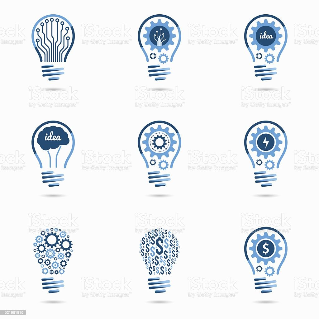 Light bulb idea icons set vector art illustration