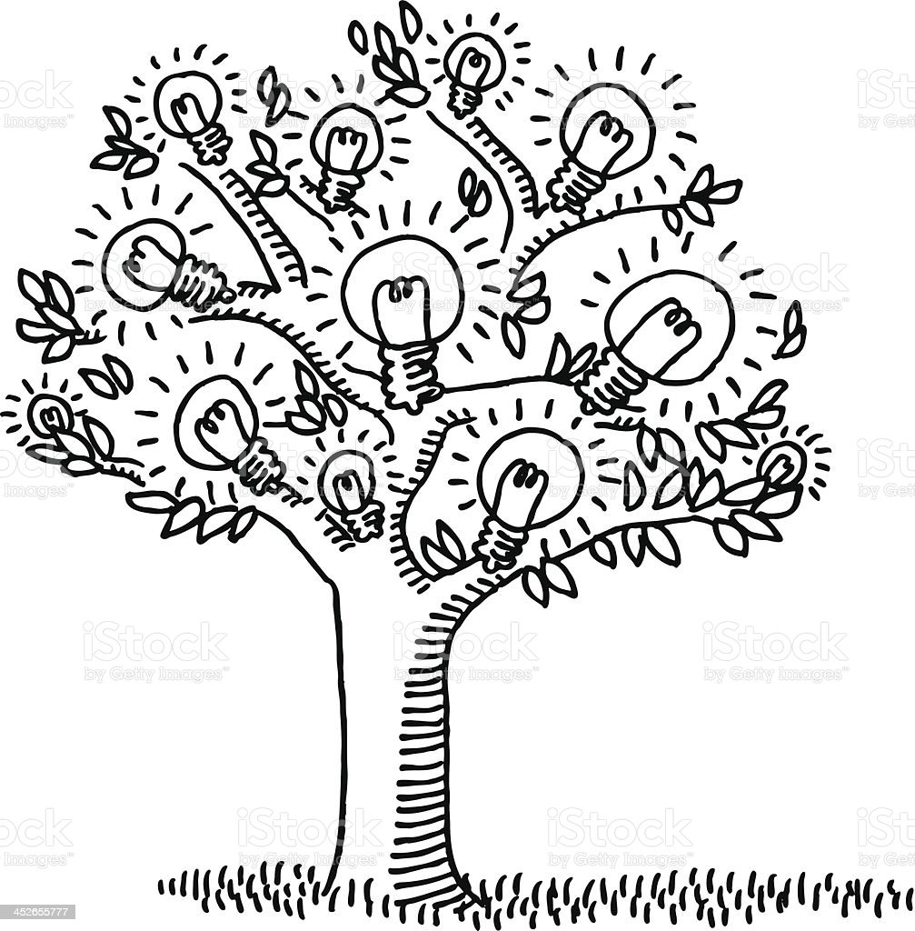 Light Bulb Idea Tree Drawing stock vector art 452655777