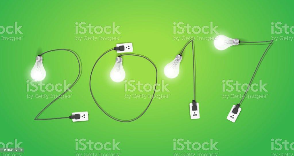 Light bulb ideas, new year 2017 vector illustration vector art illustration