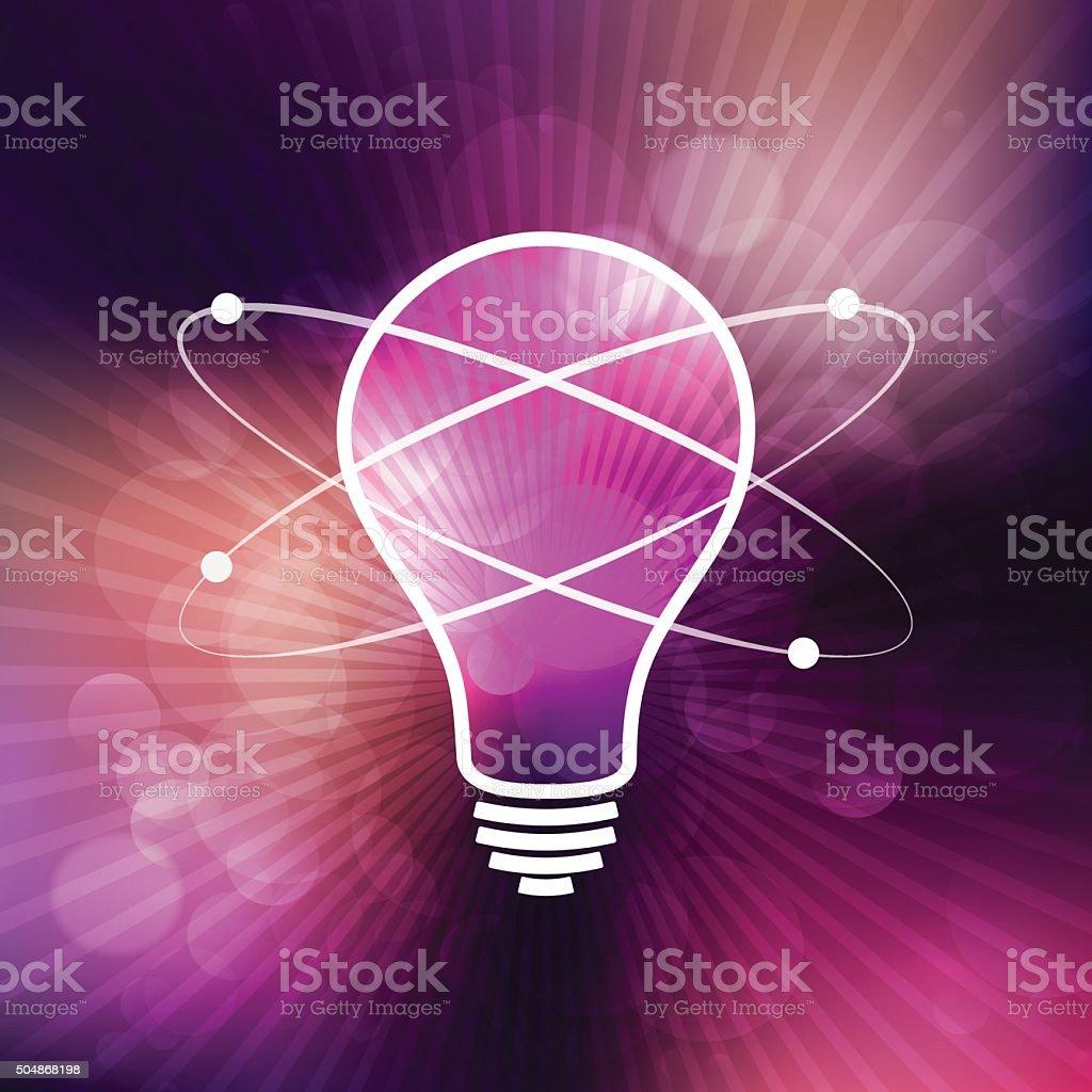 Light bulb illustration with nuclear atom on purple rays background vector art illustration