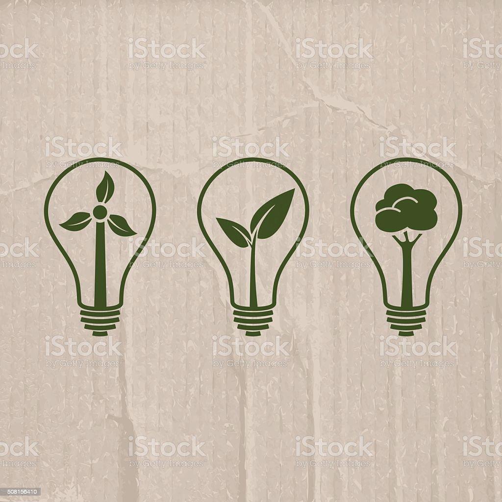Light bulb illustrations for green electricity on cardboard background vector art illustration