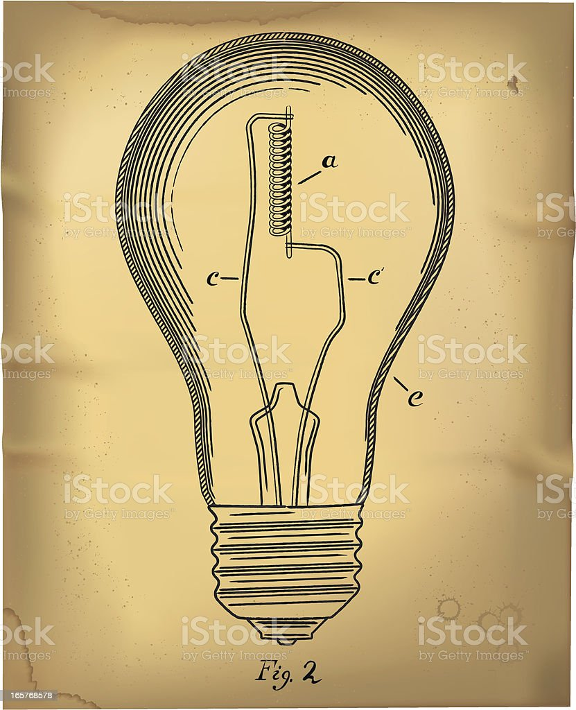 Light Bulb in 1800's Patent Drawing Style royalty-free stock vector art