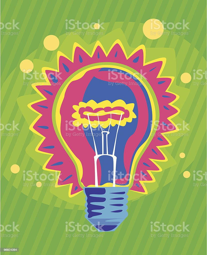 Light bulb in 70ies style on green striped background royalty-free stock vector art