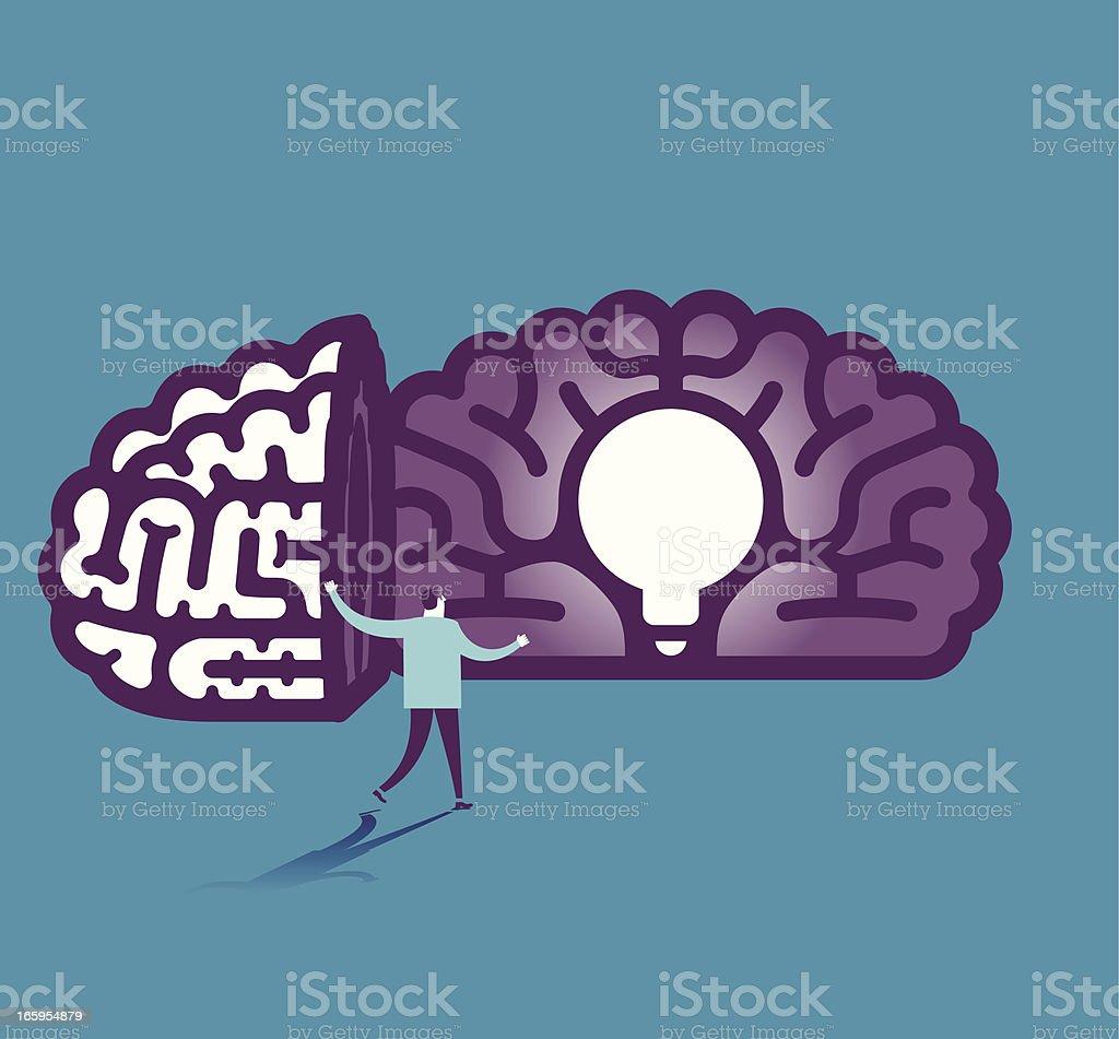 Light bulb in brain vector illustration royalty-free stock vector art