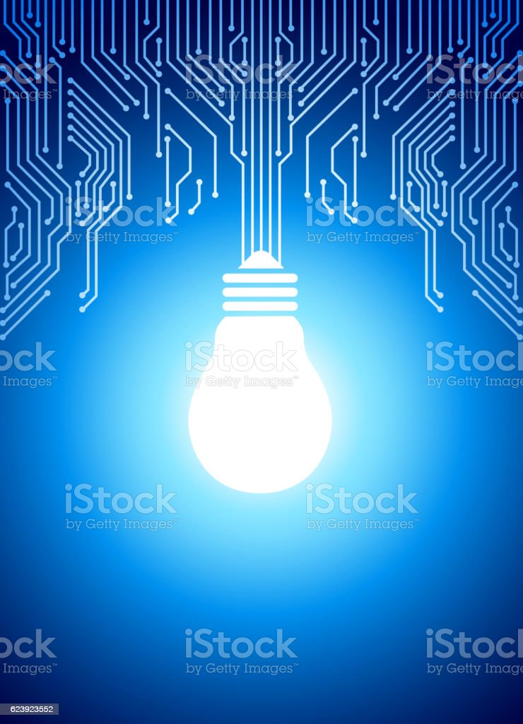 Light bulb in circuit backround vector art illustration