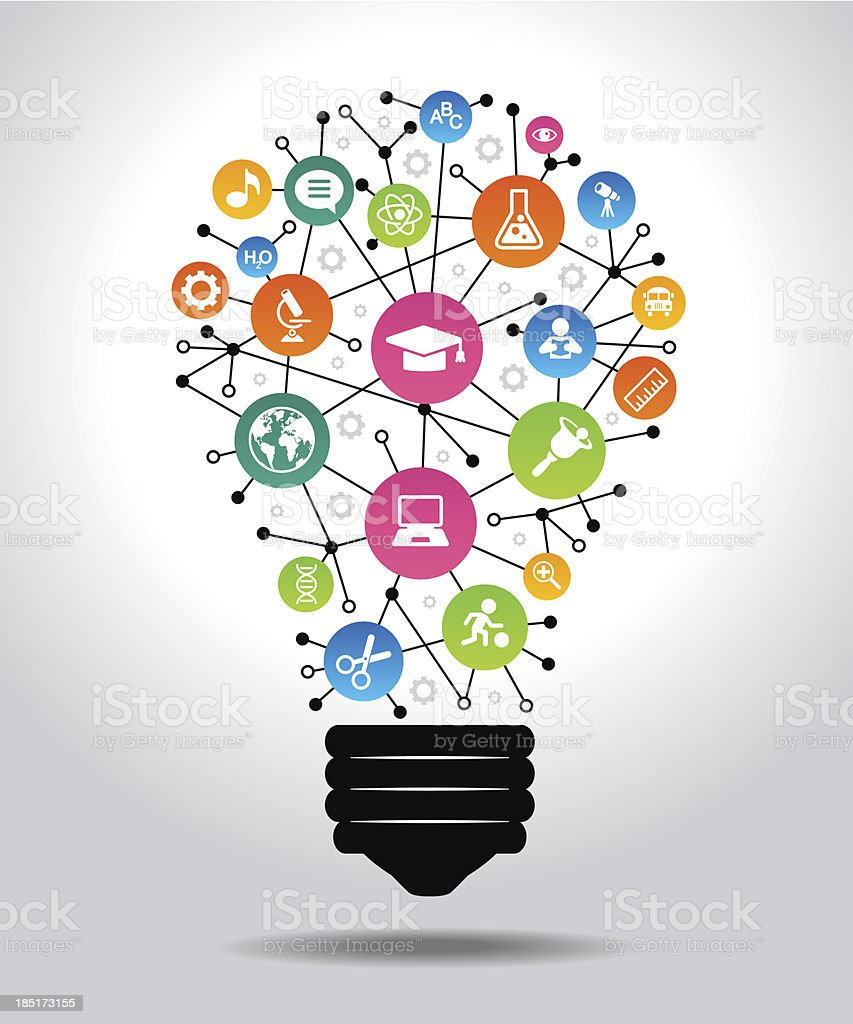 Light bulb made of education and technology icons vector art illustration