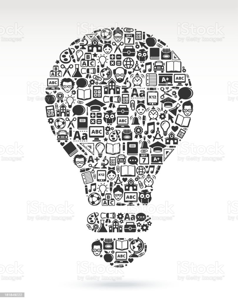 Light bulb of education and back to school icons royalty-free stock vector art