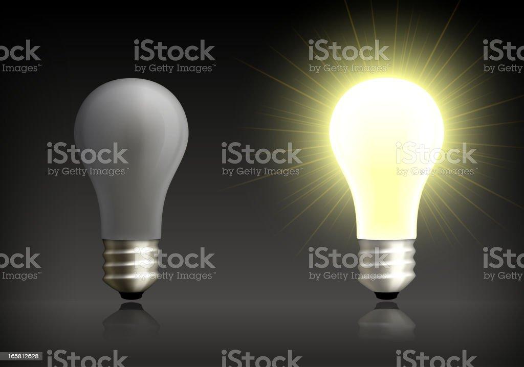 Light Bulb on and Off Background vector art illustration