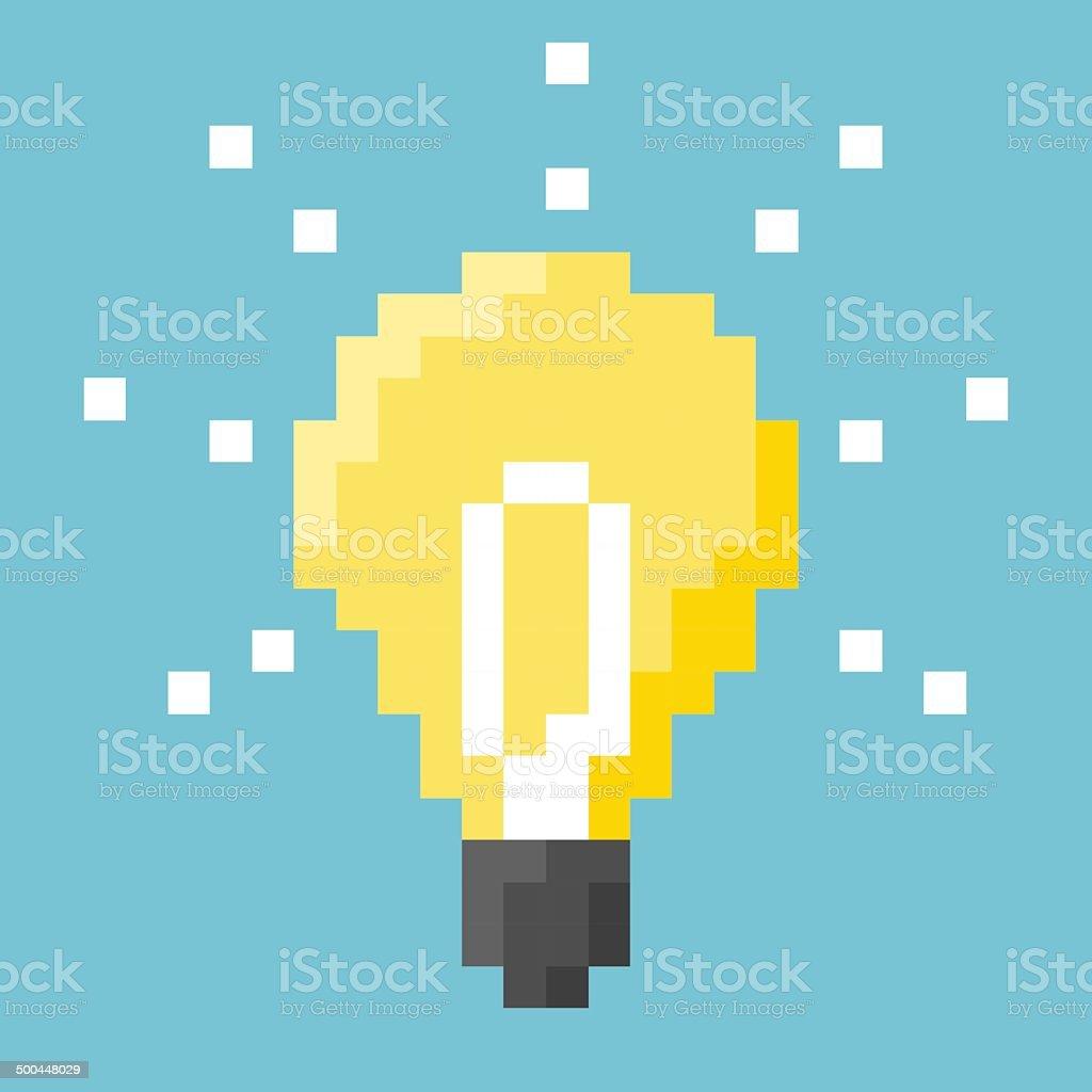 Light Bulb Pixel Concept vector art illustration