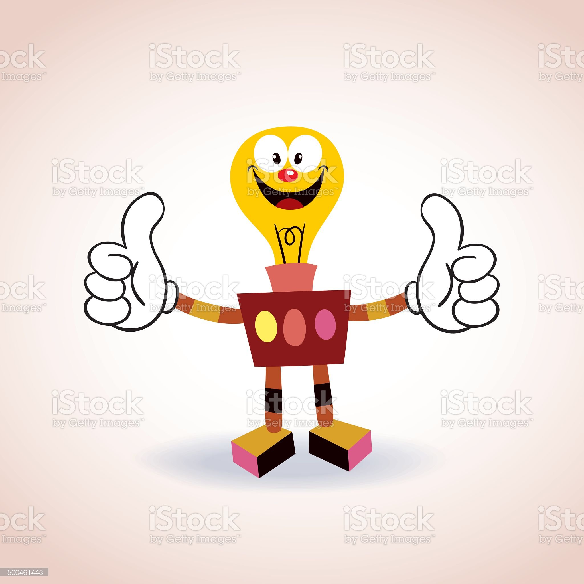 light bulb robot mascot cartoon character royalty-free stock vector art