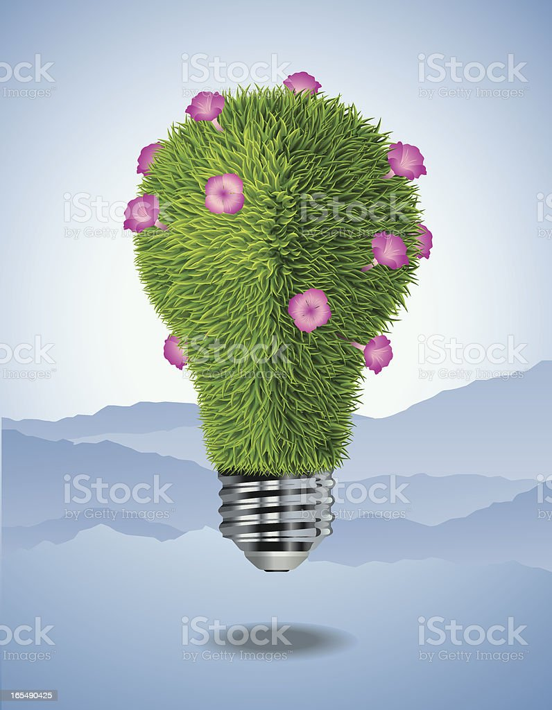Light Bulb Shaped with Green Grass and Flowers Vector vector art illustration