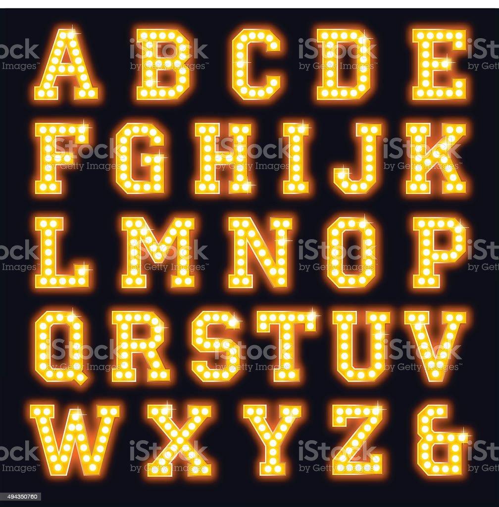 Light bulb show font vector art illustration