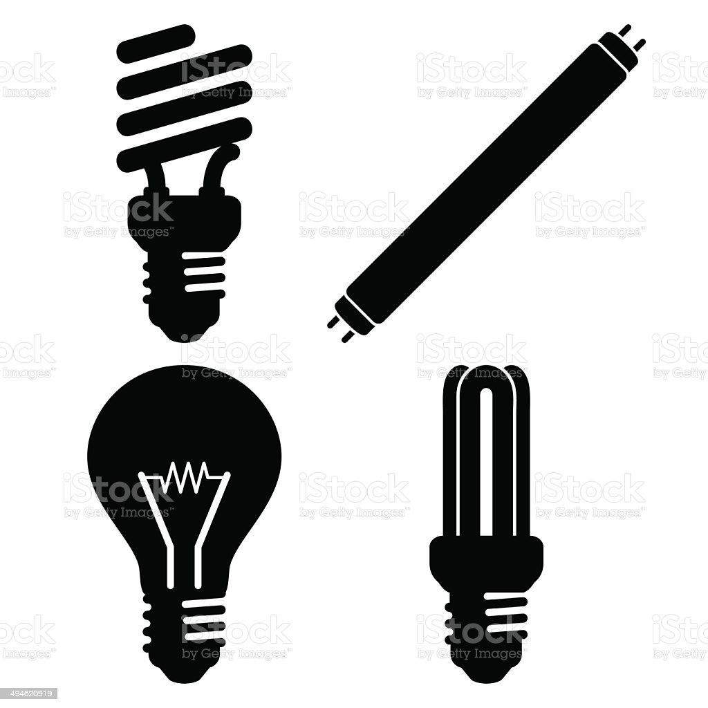 Light bulb silhouette vector art illustration