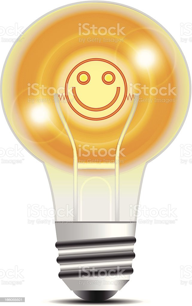 Light Bulb | Smiley Face Filament royalty-free stock vector art