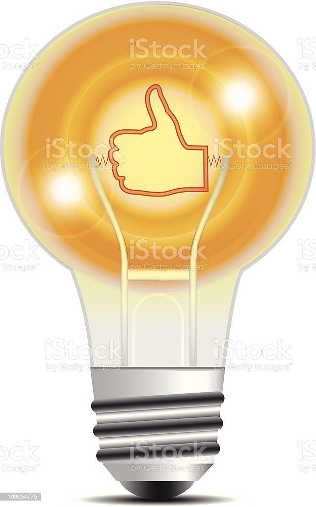 Light Bulb   Thumbs Up Filament royalty-free stock vector art