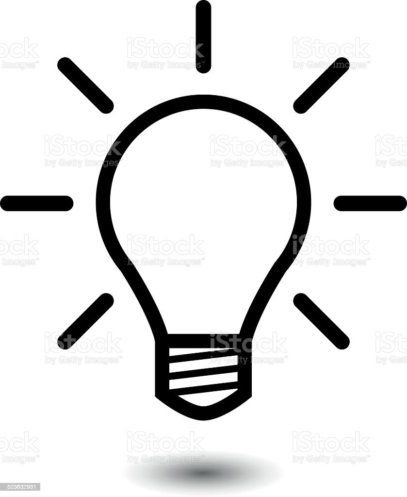 Light bulb vector icon vector art illustration