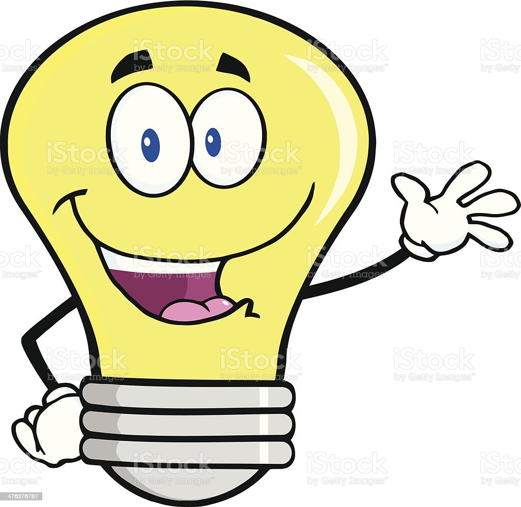 Light Bulb Waving For Greeting royalty-free stock vector art