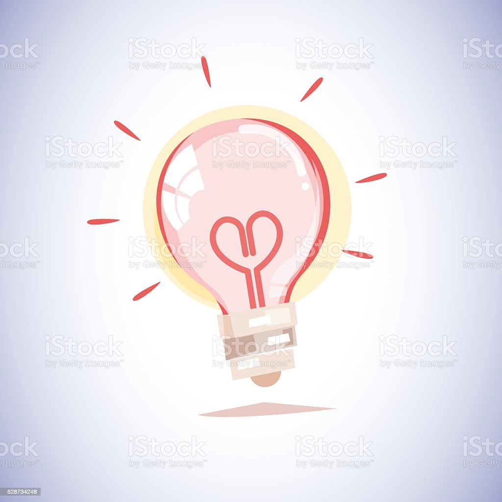 light bulb with a filament in the shape of  heart vector art illustration