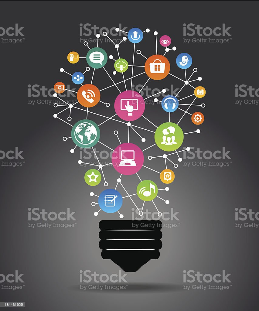 Light bulb with colorful application icon royalty-free stock vector art