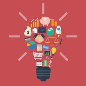 Light bulb with colorful business icons