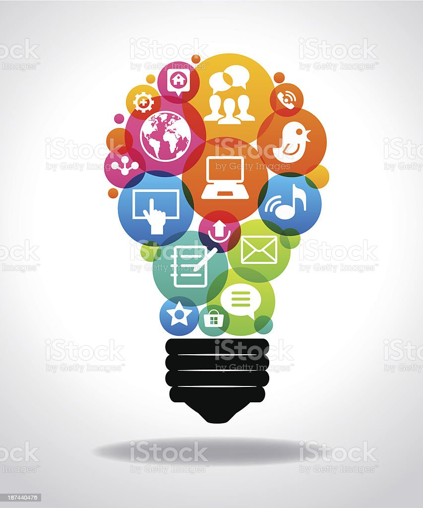 Light bulb with colorful Social Media icons vector art illustration