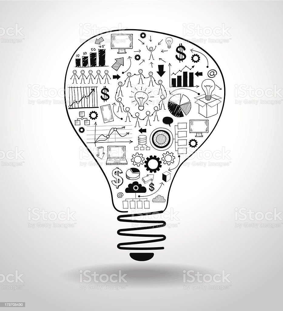 light bulb with drawing business concept royalty-free stock vector art
