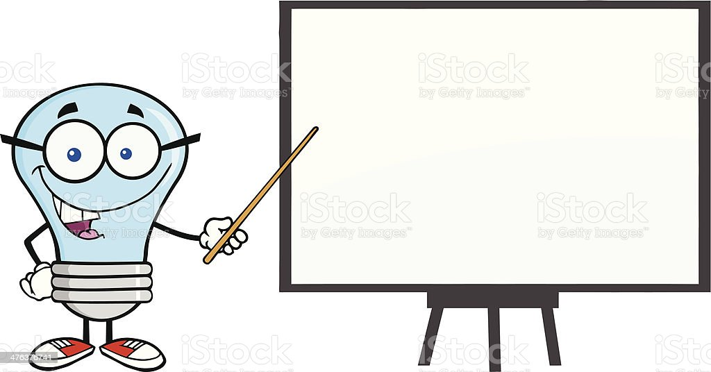 Light Bulb With Glasses Holding A Pointer And Blank Board royalty-free stock vector art
