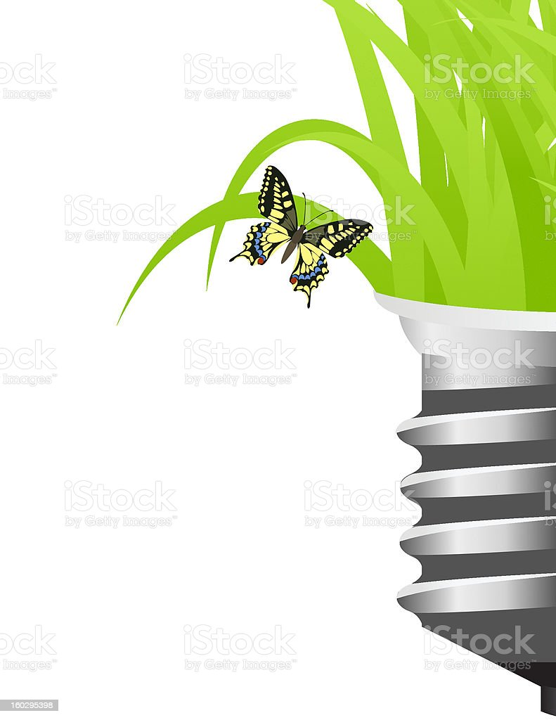 Light bulb with grass royalty-free stock vector art