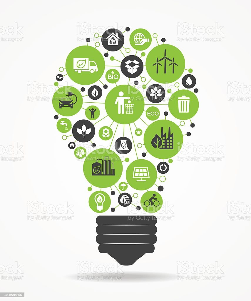 Light bulb with green eco icons.. vector art illustration