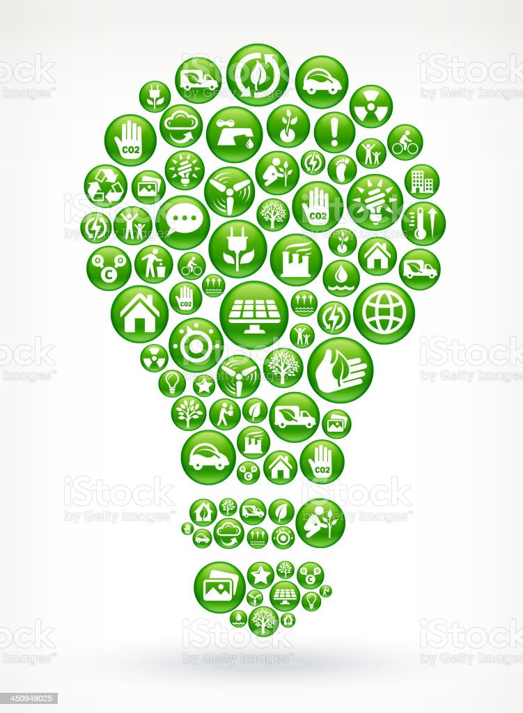 Light Bulb with Green Energy Buttons vector art illustration