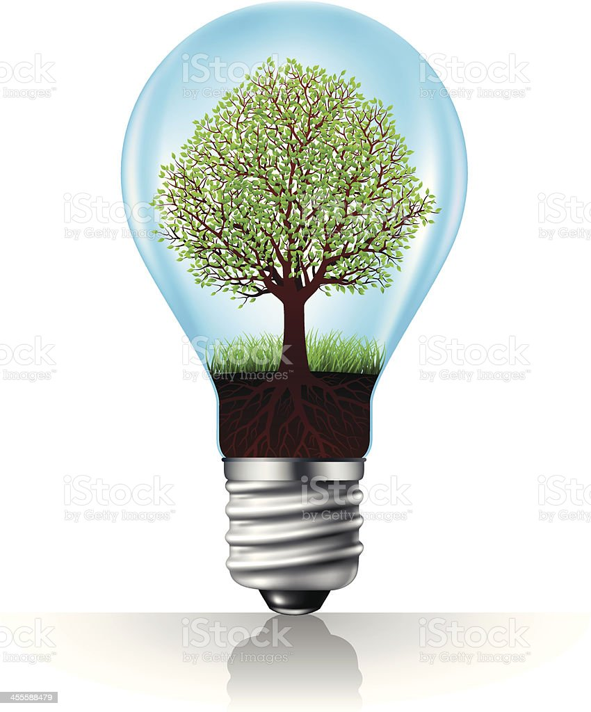 Light bulb with green tree royalty-free stock vector art