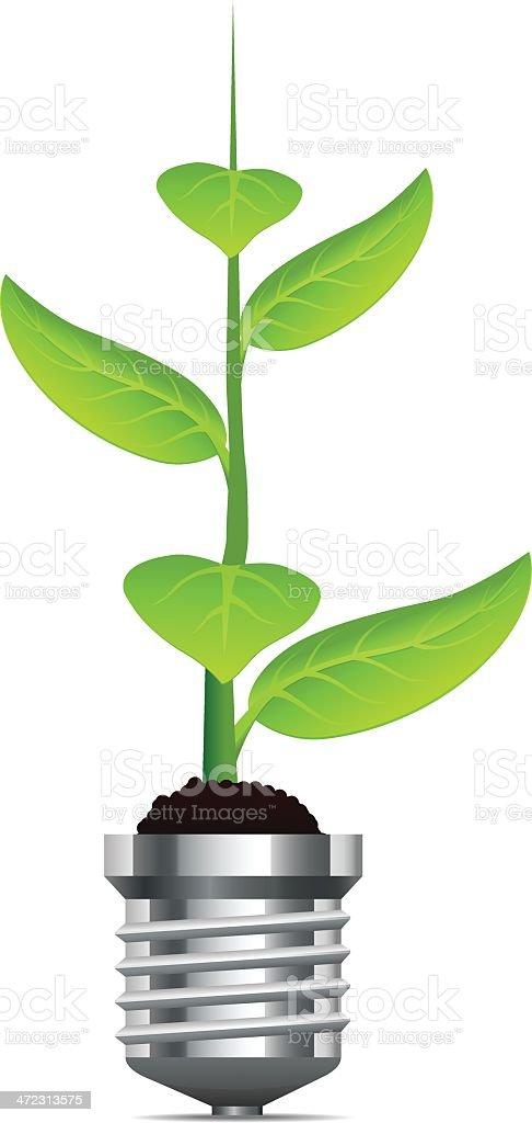 Light bulb with plant vector art illustration