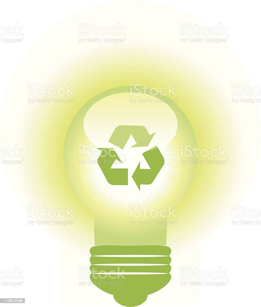 Light bulb with recycle symbol royalty-free stock vector art