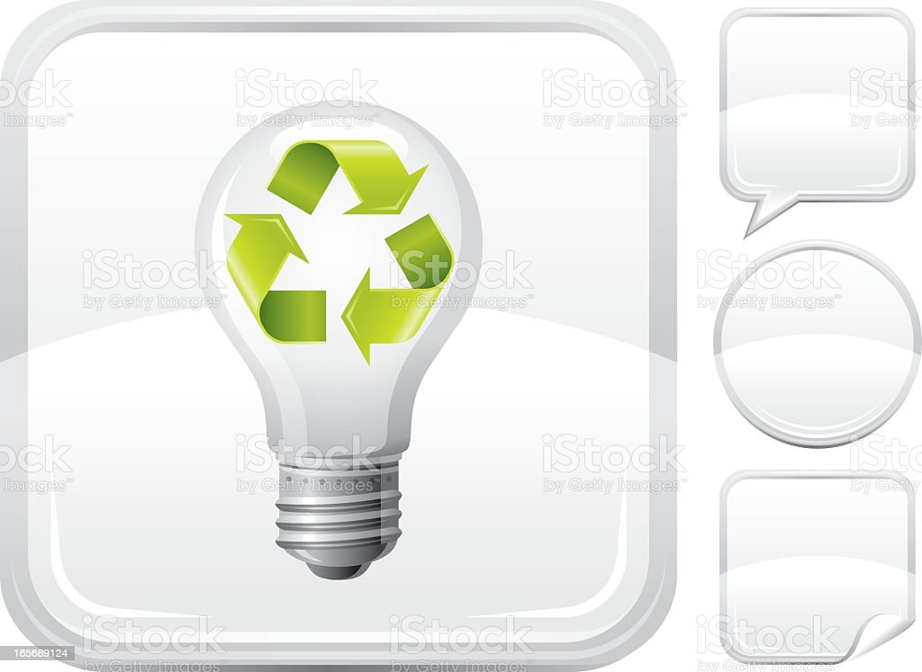 Light bulb with recycling symbol icon on silver button royalty-free stock vector art