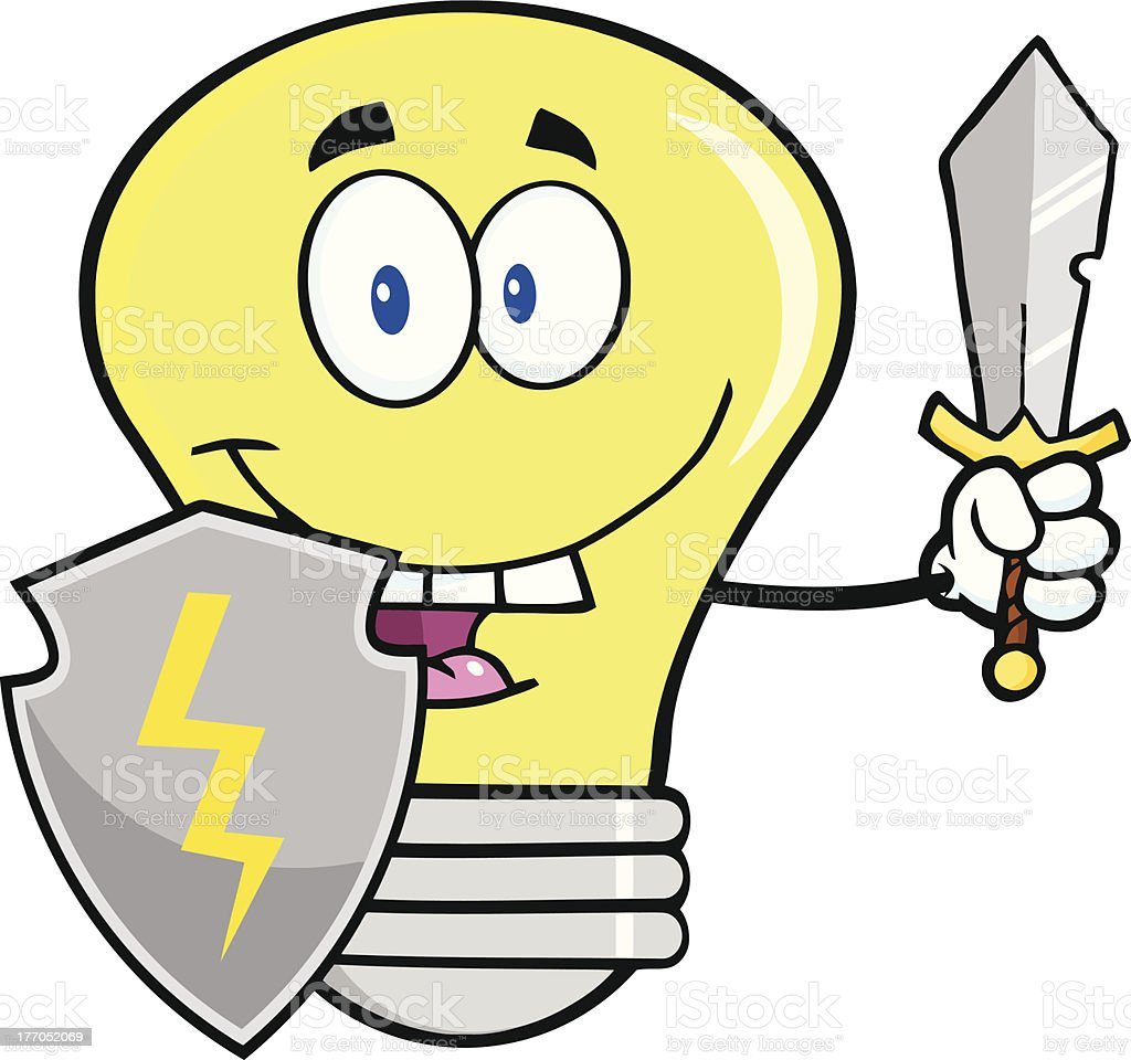 Light Bulb With Shield And Sword royalty-free stock vector art