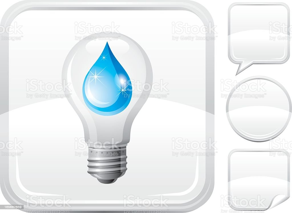 Light bulb with water drop icon on silver button royalty-free stock vector art