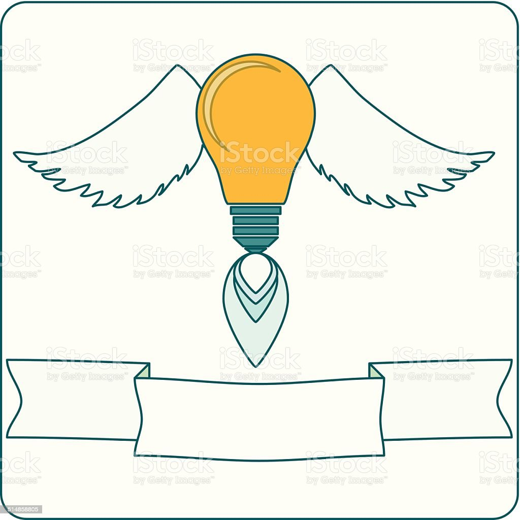 Light Bulb with Wings and Banner vector art illustration
