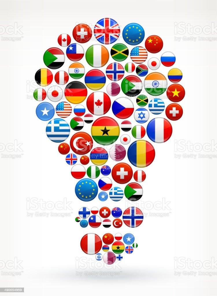 Light Bulb World Flags royalty free graphic vector art illustration