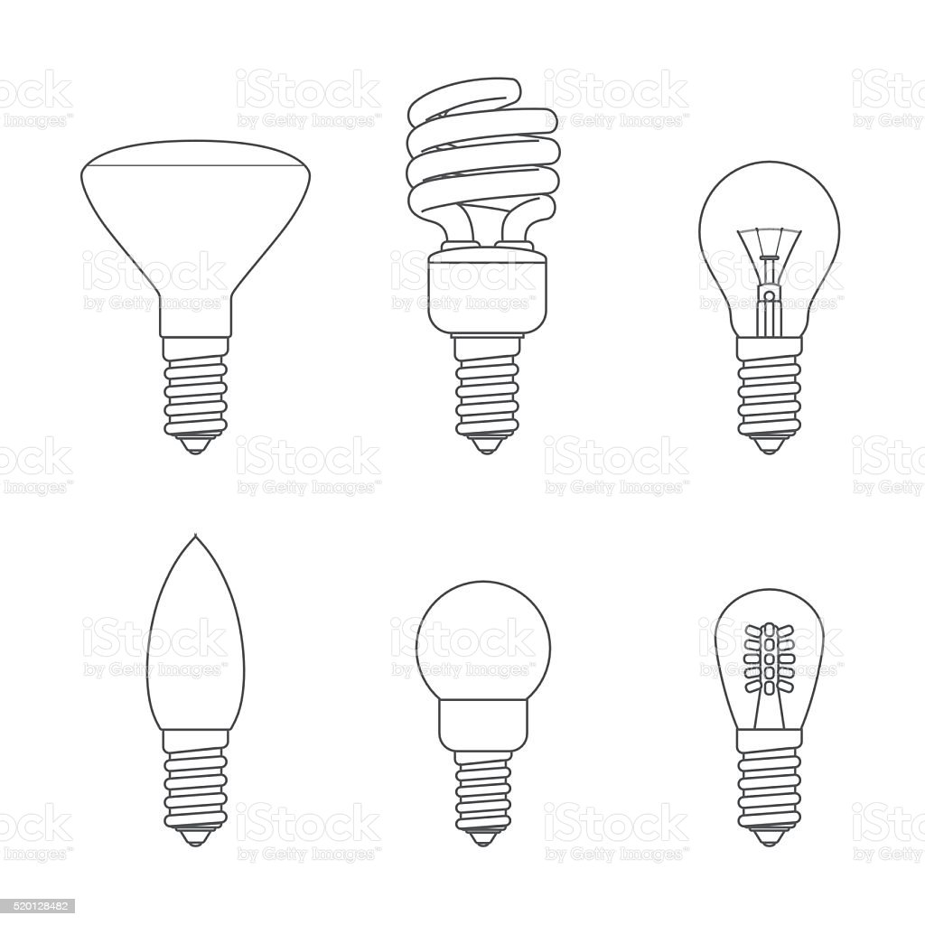 Light bulbs _ screw cap e 14 vector art illustration