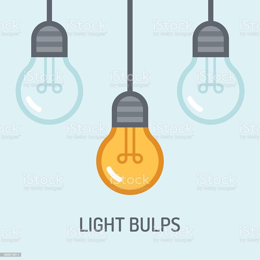 Light bulbs background. Idea concept vector art illustration