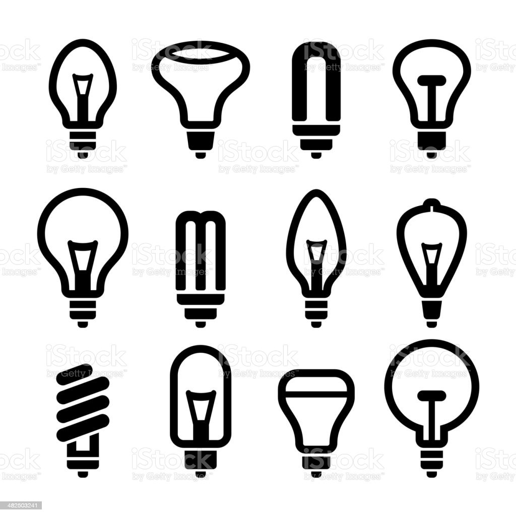 Light bulbs. Bulb icon set 2. Vector royalty-free stock vector art