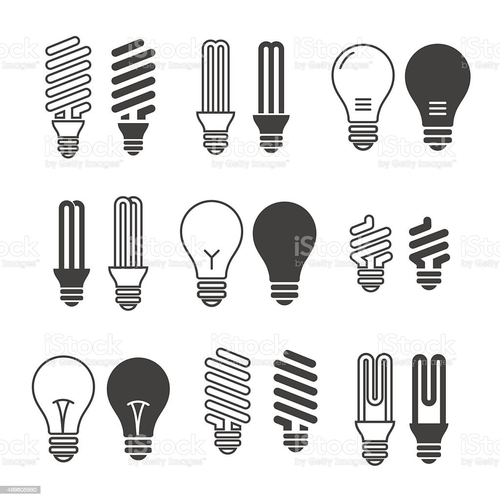 Light bulbs. Bulb icon set. Isolated on white background. Electr vector art illustration