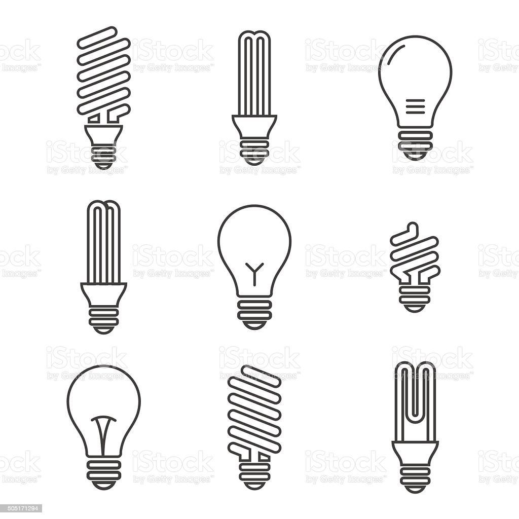 Light bulbs. Bulb icon set. Isolated on white background. Electr vector art illustration