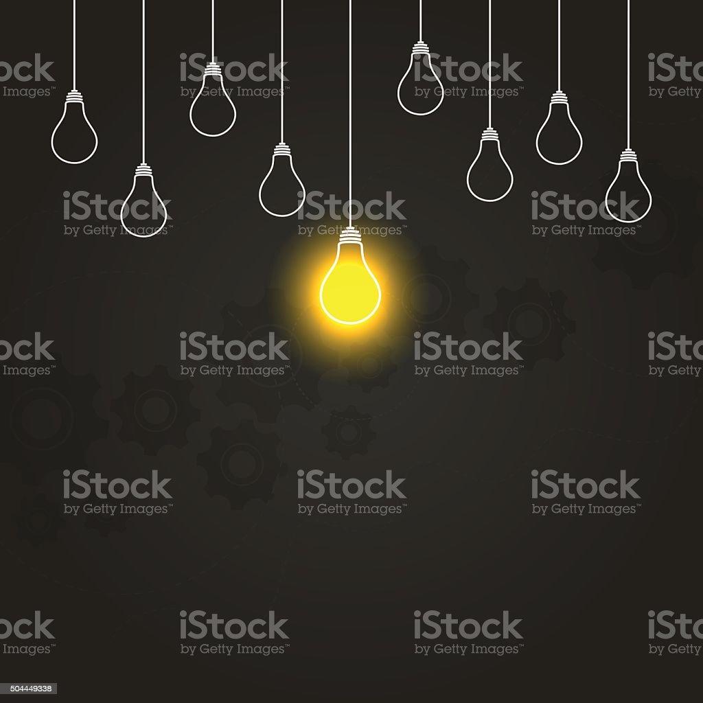 Light bulbs hanging down illustration on gears dark background vector art illustration