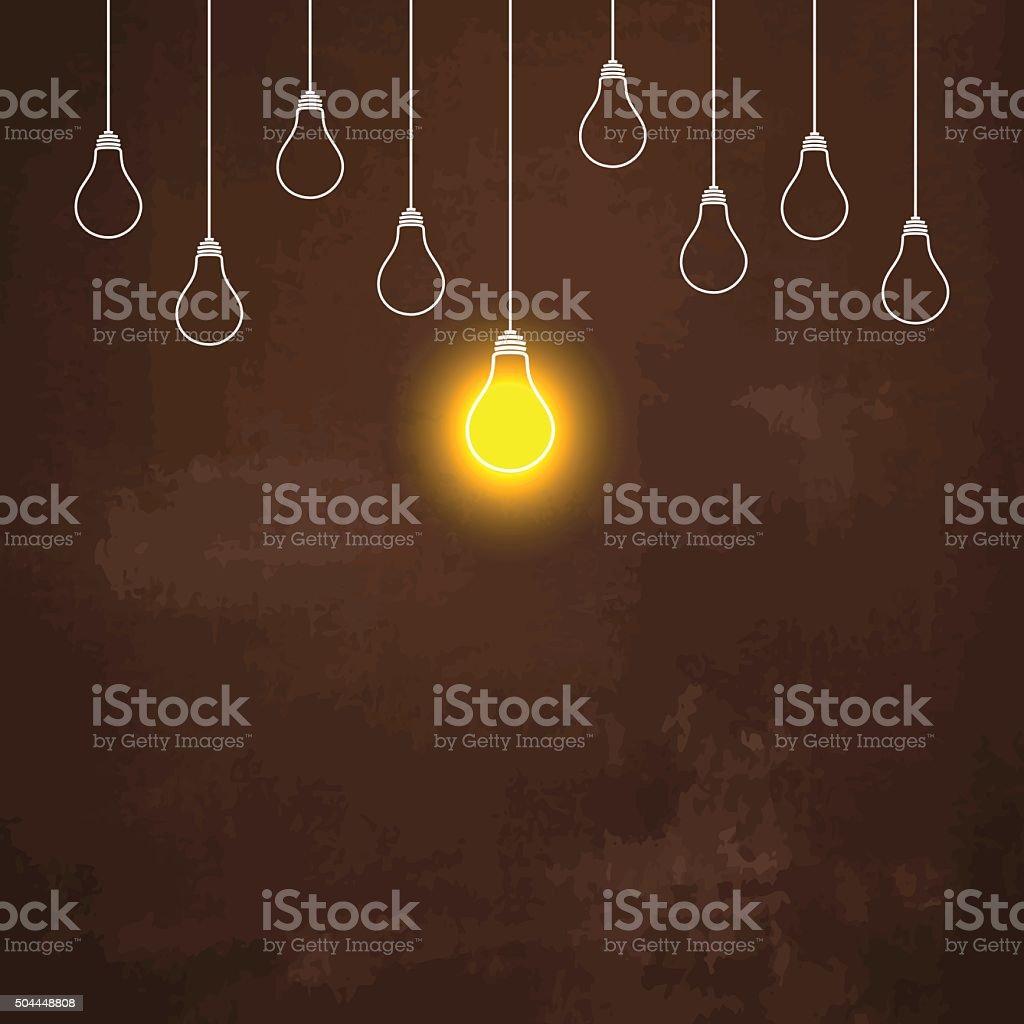 Light bulbs hanging down illustration on rusty metal background vector art illustration
