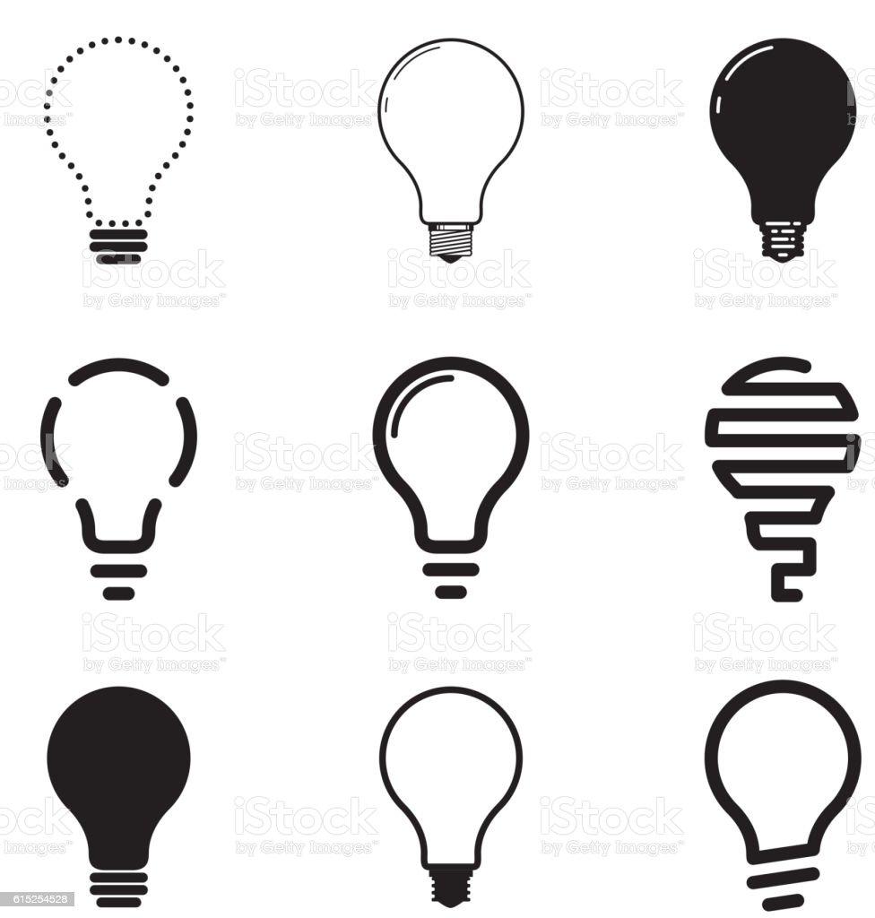 Light bulbs, icon set vector art illustration