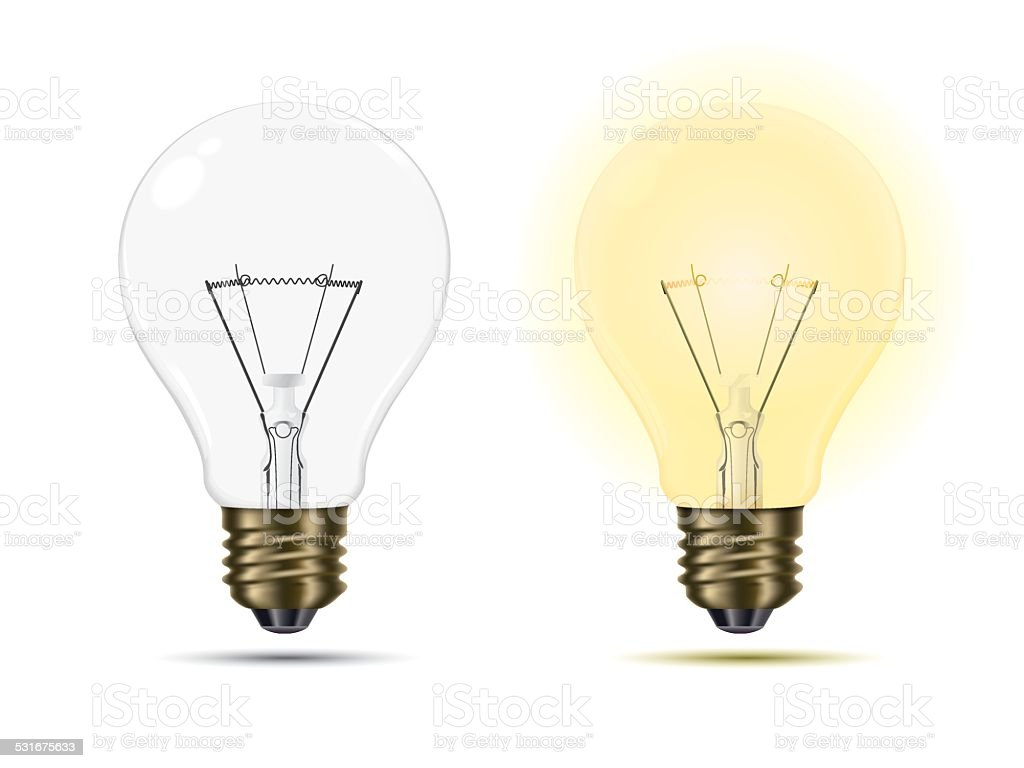 Light Bulbs switched on and off vector art illustration